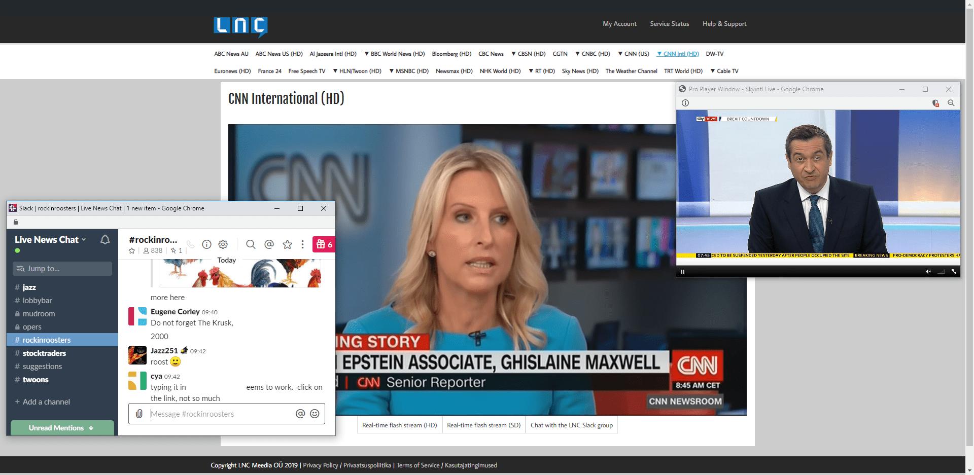 msnbc cnn cnbc bloomberg weather channel sky news cbc news al jazeera